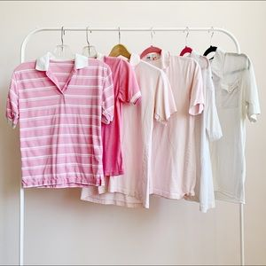 lot of 6 vintage 60s/70s pink and white polos